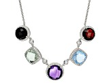 Multi-Gem Sterling Silver Necklace 21.36ctw