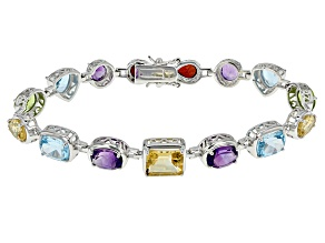 Multi-Gem Rhodium Over Sterling Silver Bracelet 20.70ctw