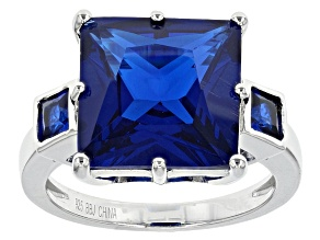 Blue Lab Created Spinel Sterling Silver Ring 8.47ctw