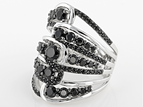 Black Spinel Sterling Silver Ring 3.34ctw