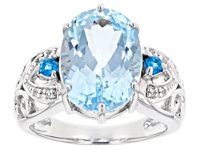 Sky Blue Topaz Sterling Silver Ring 6.32ctw