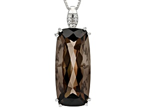Brown Smoky Quartz Sterling Silver Pendant With Chain 20.58ctw