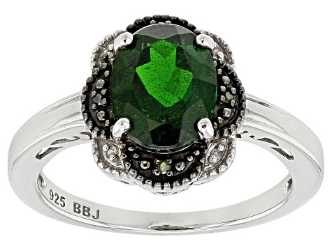 Green Russian Chrome Diopside Sterling Silver Ring 1.63ctw