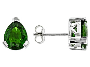 Green Chrome Diopside Sterling Silver Earrings 3.37ctw