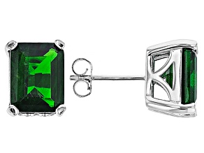 Green Chrome Diopside Sterling Silver Stud Earrings 4.98ctw