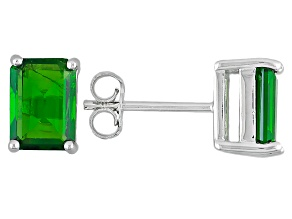 Green Chrome Diopside Solitaire Rhodium Over Sterling Silver Earrings 2.41ctw