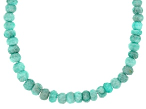 Blue Amazonite Rhodium Over Sterling Silver Strand Necklace