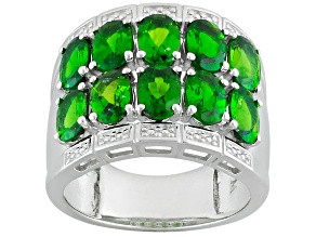 Green Chrome Diopside Sterling Silver Band Ring 4.08ctw