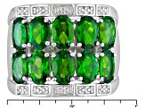 Green Chrome Diopside Rhodium Over Sterling Silver Band Ring 4.08ctw