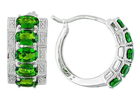 Green Chrome Diopside Sterling Silver Hoop Earrings 4.02ctw