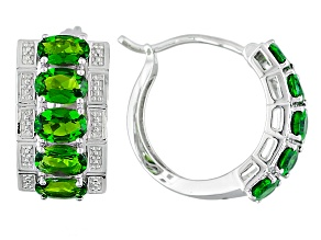 Green Chrome Diopside Rhodium Over Sterling Silver Hoop Earrings 4.02ctw