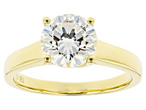 White Fabulite Strontium Titanate 18k Yellow Gold Over Silver Ring 2.55ct