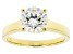 White Fabulite Strontium Titanate 18k Yellow Gold Over Silver Ring 2.55ct
