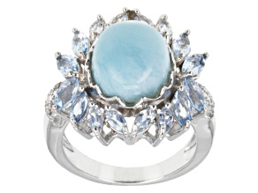 Blue Larimar Sterling Silver Ring 1.40ctw