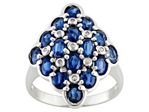 Blue Nepal Kyanite And White Diamond Sterling Silver Ring 2.88ctw