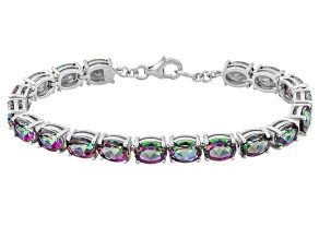 Mystic® Green Topaz Rhodium Over Sterling Silver Tennis Bracelet 22.03ctw