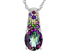 Mystic Green Topaz Rhodium Over Sterling Silver Pendant With Chain 2.58ctw