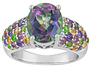 Mystic® Green Topaz Rhodium Over Sterling Silver Ring 4.88ctw