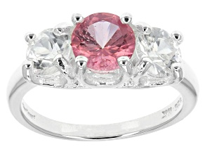 Pink Mexican Danburite And White Zircon Sterling Silver Ring 1.86ctw