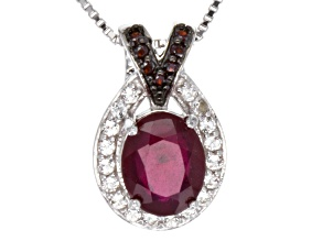 Mahaleo Ruby Sterling Silver Pendant With Chain 3.16ctw