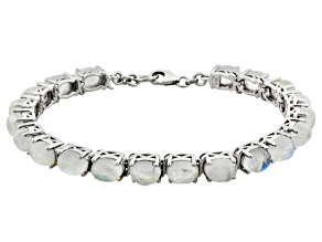 Multi Color Rainbow Moonstone Sterling Silver Tennis Bracelet