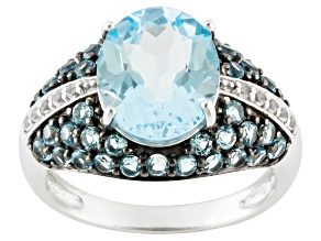Sky Blue Topaz Sterling Silver Ring 4.37ctw