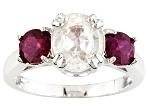 White Zircon and Mahaleo Ruby Sterling Silver Ring 3.74ctw