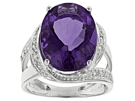 Blue Color Change Fluorite And White Zircon Sterling Silver Ring 10.04ctw