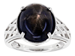 Blue Star Sapphire Sterling Silver Ring 6.98ct