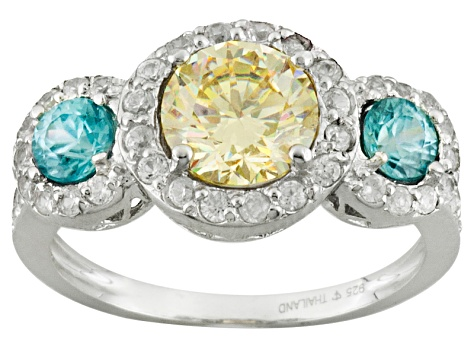 Fabulite Strontium Titanate Sterling, Blue Zircon With White Zircon Silver Ring 3.10ctw