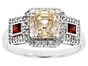 White Lab Created Strotium Titanate, White Zircon And Garnet Sterling Silver Ring 3.81ctw
