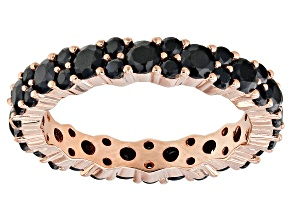 Black spinel 18k rose gold over silver eternity band 2.50ctw