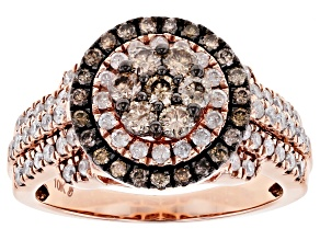 Champagne And White Diamond 10K Rose Gold Ring 1.26ctw