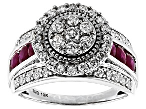 White Diamond & Red Burmese Ruby 10k White Gold Ring 2.00ctw