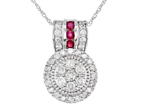 White Diamond & Red Burmese Ruby 10K White Gold Cluster Pendant 0.90ctw