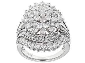 White Diamond 10k White Gold Cocktail Ring 4.00ctw