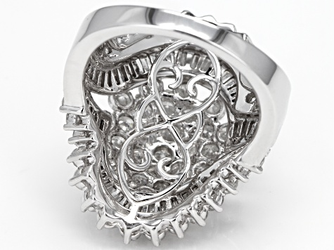 White Diamond 10k White Gold Ring 4.00ctw