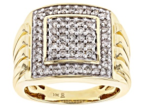 Candlelight Diamonds™ 10K Yellow Gold Mens Cluster Ring 1.00ctw