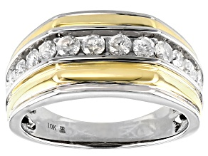 White Diamond 10k White And Yellow Gold Mens Ring 1.00ctw