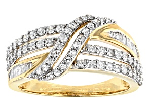 White Diamond 10k Yellow Gold Ring 0.75ctw