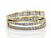 White Diamond 10k Yellow Gold Ring 0.84ctw