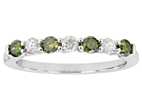 Green and White Diamond 10k White Gold Ring 0.50ctw