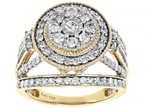 White Diamond 10K Yellow Gold Ring 1.50ctw
