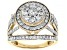 White Diamond 10K Yellow Gold Cocktail Ring 1.50ctw