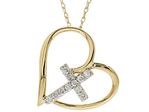 White Diamond 10K Yellow Gold Pendant With Chain 0.10ctw