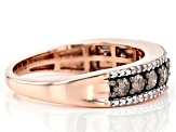 Champagne And White Diamond 10K Rose Gold Ring 0.80ctw
