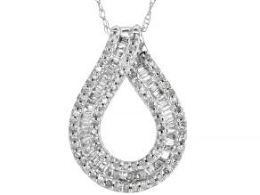 White Diamond 10K White Gold Pendant With Chain 0.50ctw