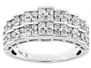 White Diamond 10k White Gold Pyramid Ring 1.00ctw