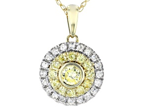 Natural Yellow And White Diamond 10K Yellow Gold Pendant With Chain 0.75ctw