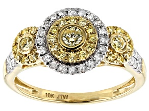 Natural Yellow And White Diamond 10K Yellow Gold Cluster Ring 0.75ctw